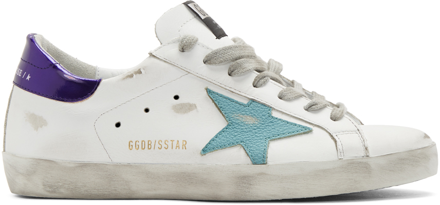White & Blue Superstar Sneakers