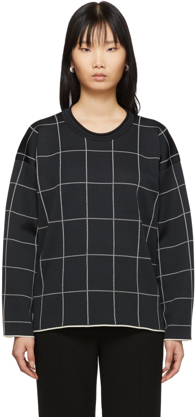 31 Phillip Lim Black Cropped Jersey Roll Pullover 201283F098078
