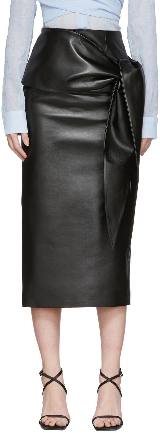 Matériel Tbilisi Black Faux-Leather Waist Tie Skirt