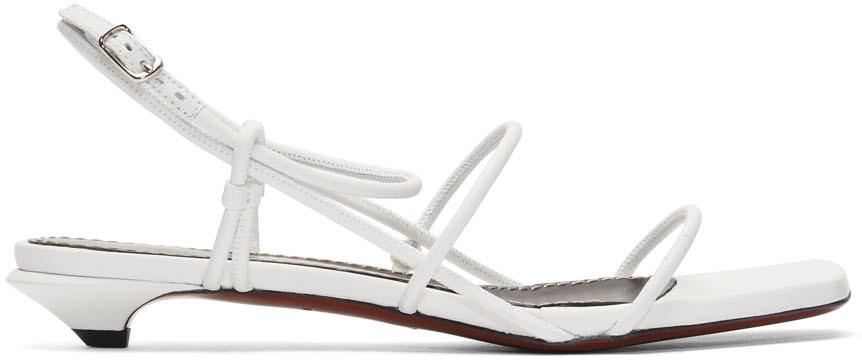 White Strappy Low Kitten Heel Sandals