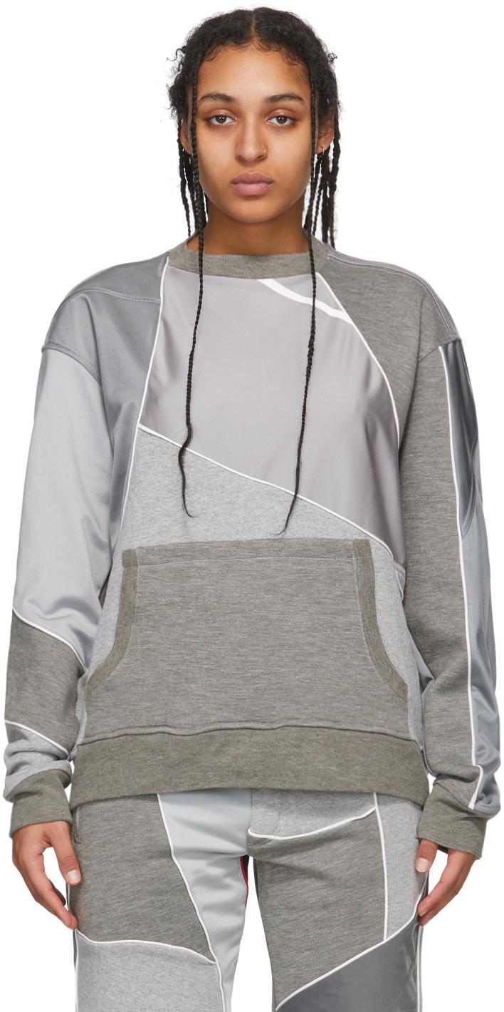 Grey Patchwork Crewneck Sweatshirt