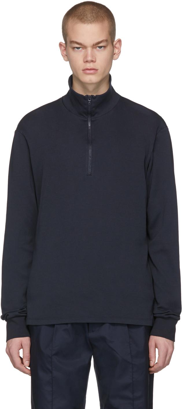 Navy Calenda Zip Sweater
