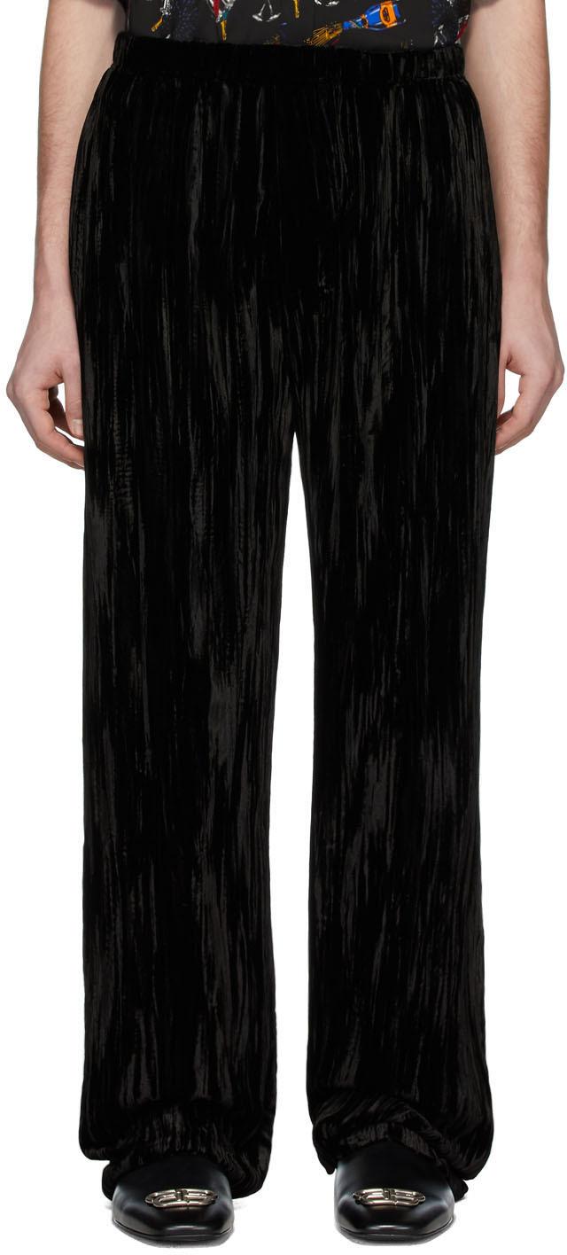 Black Velvet Pyjama Trousers By Balenciaga On Sale