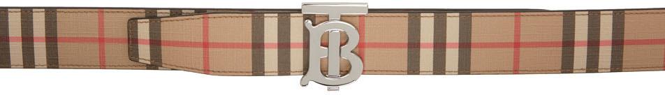Burberry リバーシブル ベージュ Eキャンバス モノグラム ベルト