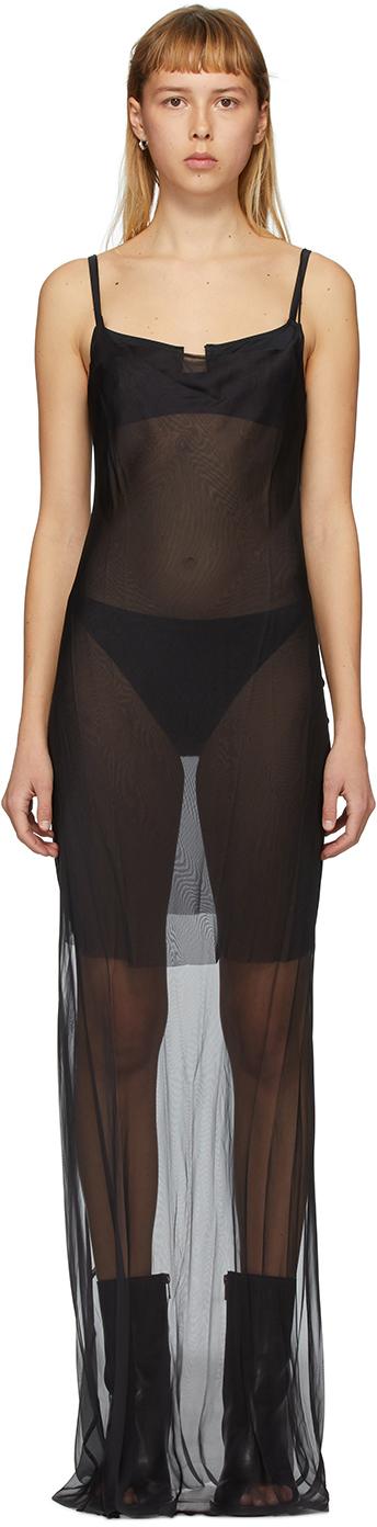 Black Godetia Ribbon Slip Dress