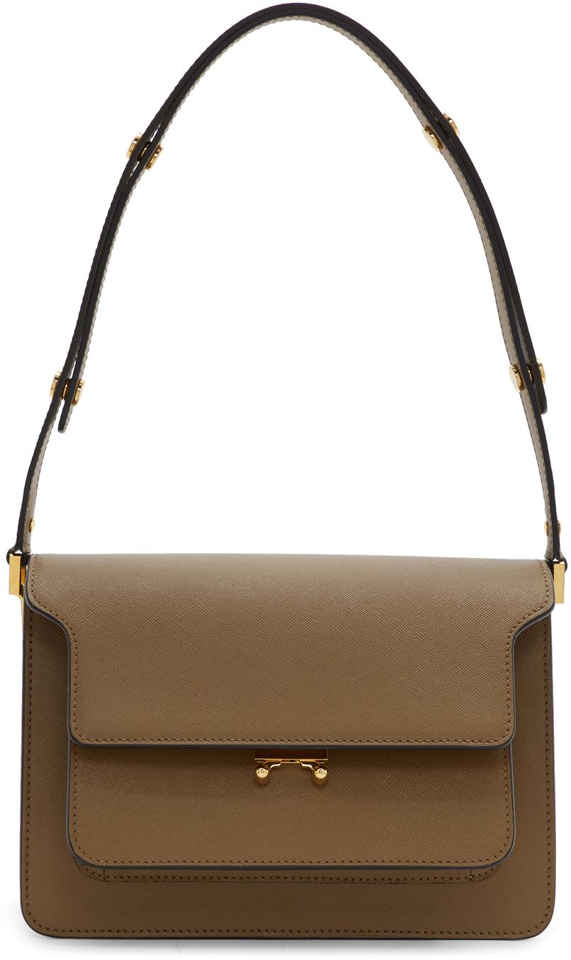 Brown Saffiano Medium Trunk Bag