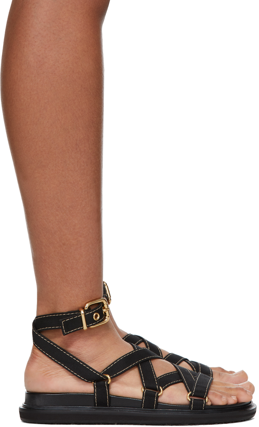Black Strappy Flat Sandals by Marni on Sale