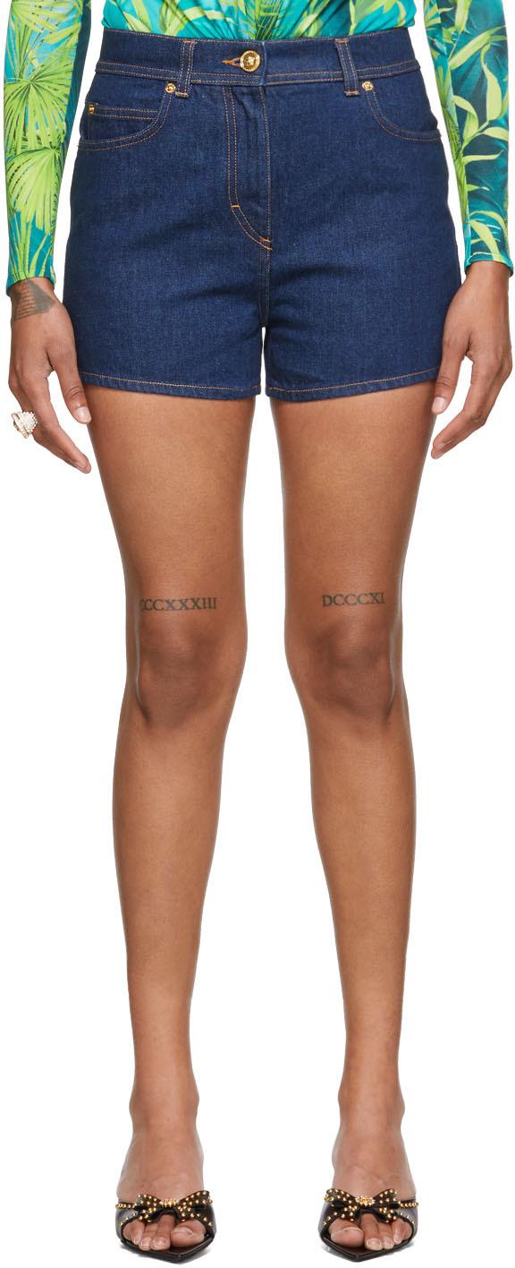 Versace 蓝色徽标短裤