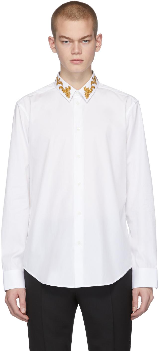Chemise blanche Barocco Collar Versace en