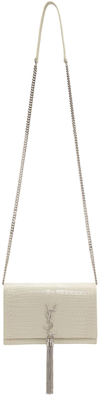 White Croc Kate Tassel Chain Wallet Bag