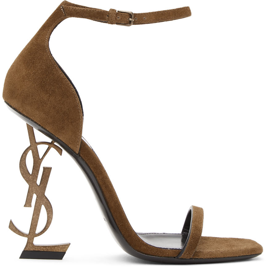 Brown Suede Opyum Heeled Sandals by
