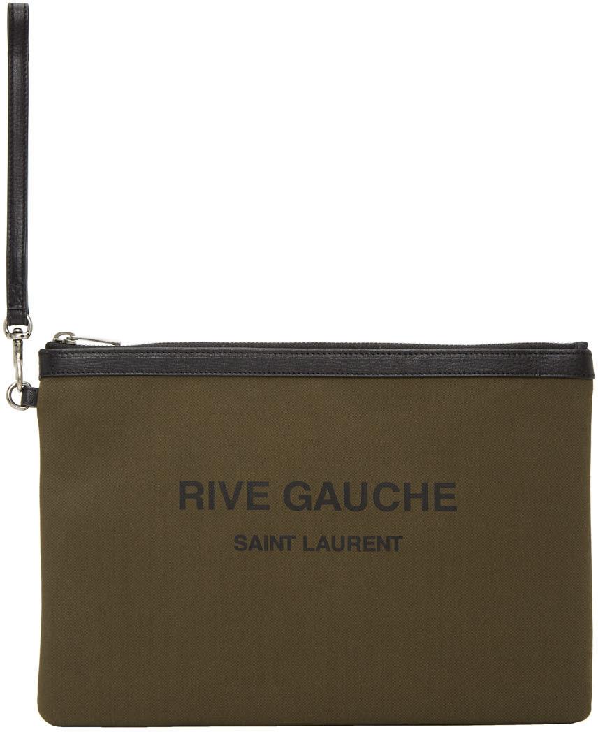 """Saint Laurent 卡其色""""Rive Gauche""""帆布手拿包"""