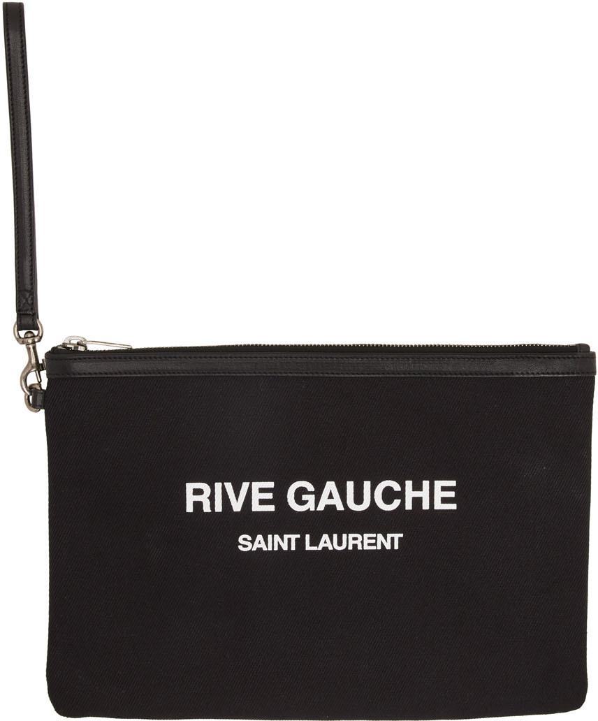 """Saint Laurent 黑色""""Rive Gauche""""帆布手拿包"""