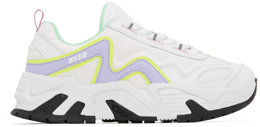 White \u0026 Purple Chunky Sneakers by MSGM