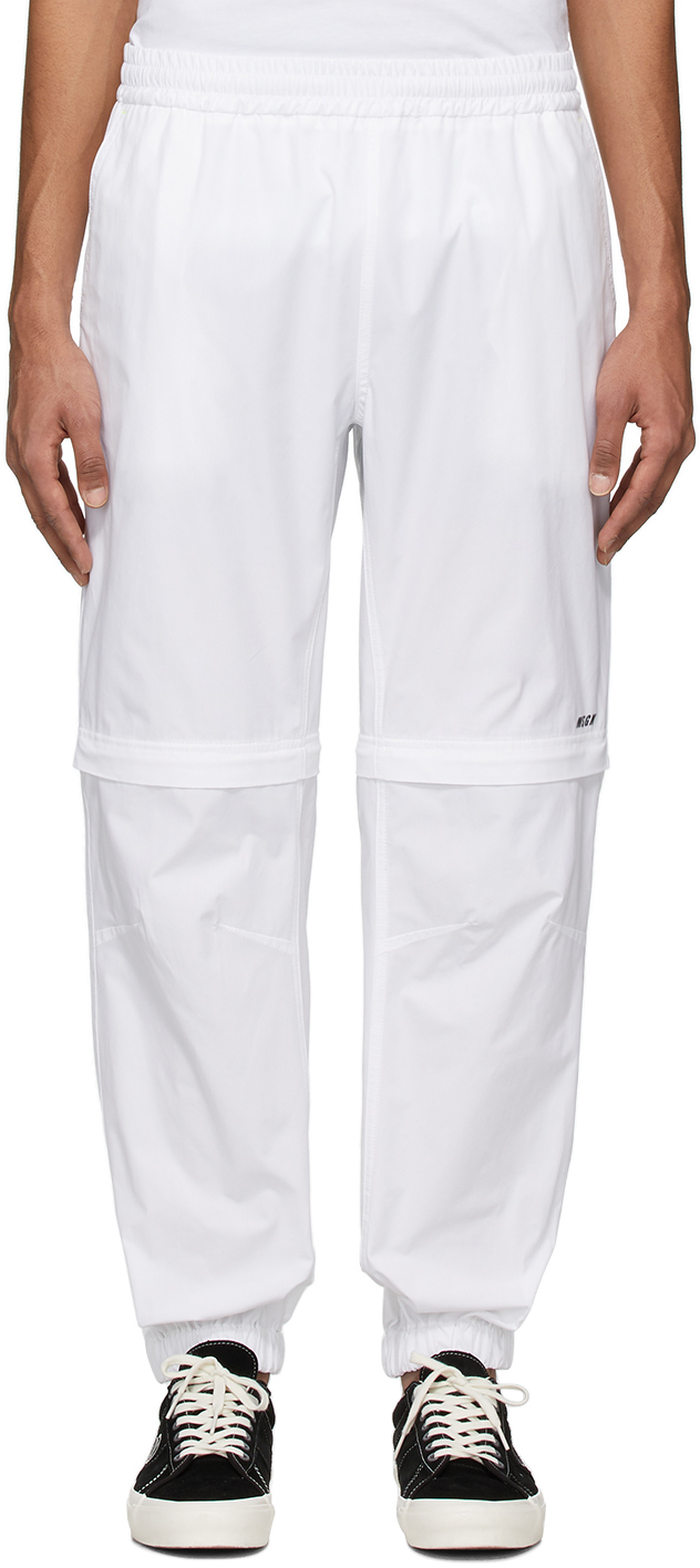 White Zip Off Lounge Pants
