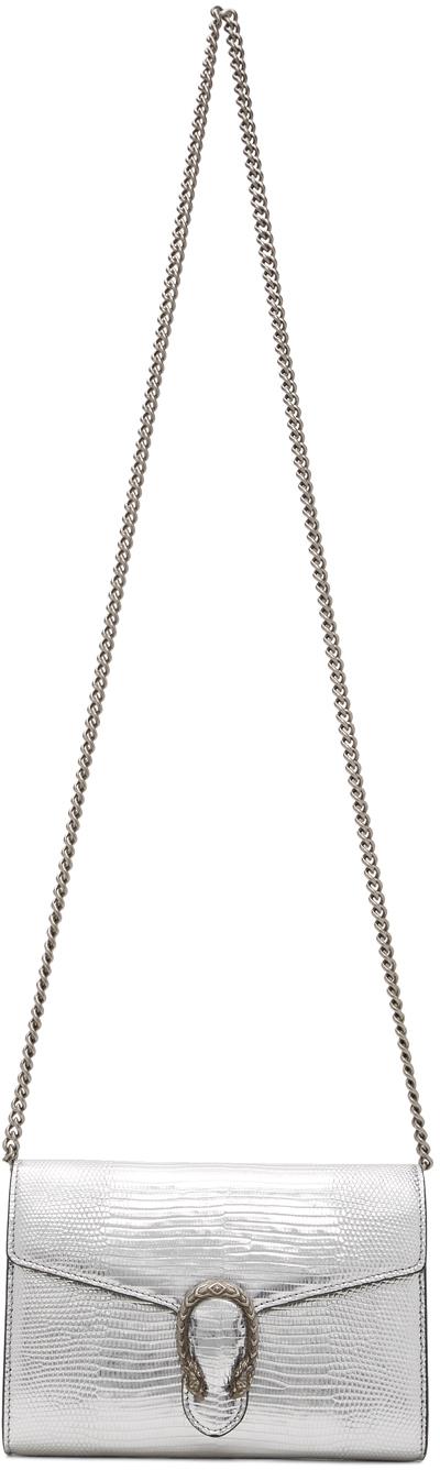 Gucci 银色 Dionysus 蜥蜴皮链带单肩包