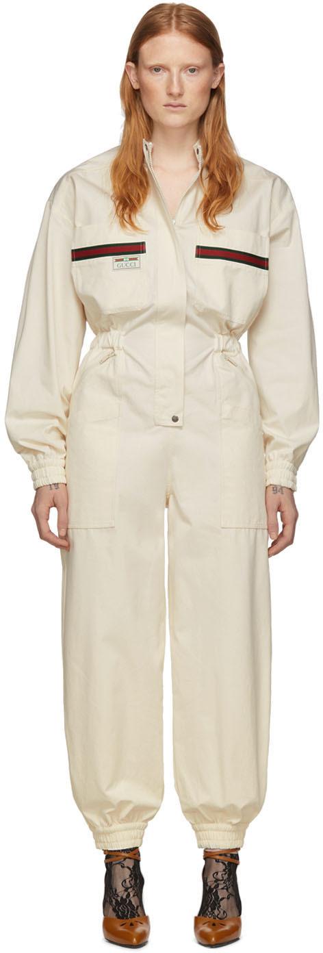 Gucci 灰白色帆布连身裤