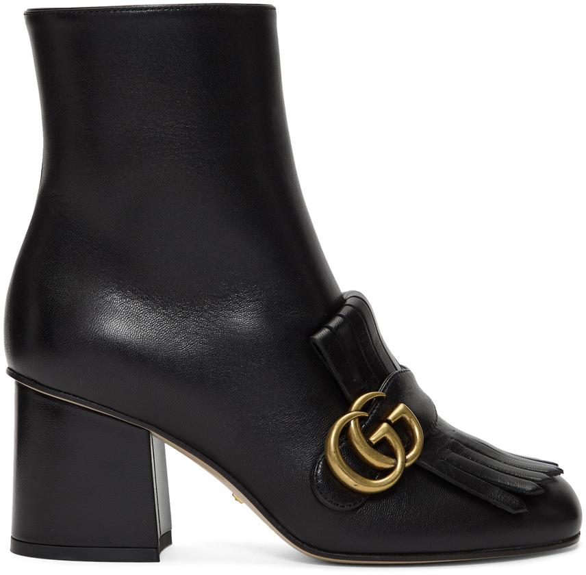Gucci 黑色 Double G 踝靴
