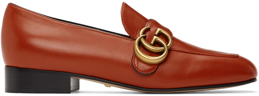Gucci 橙色 Double G 乐福鞋