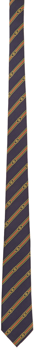 Gucci 海军蓝提花真丝领带