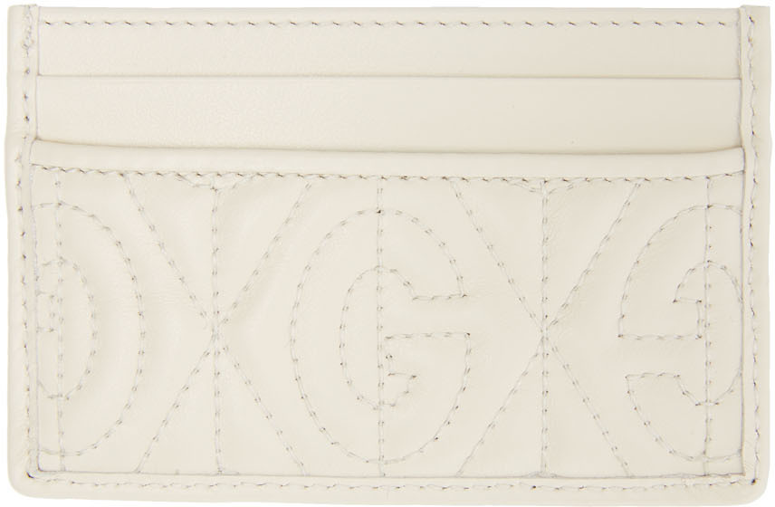 White GG Quilted Card Holder