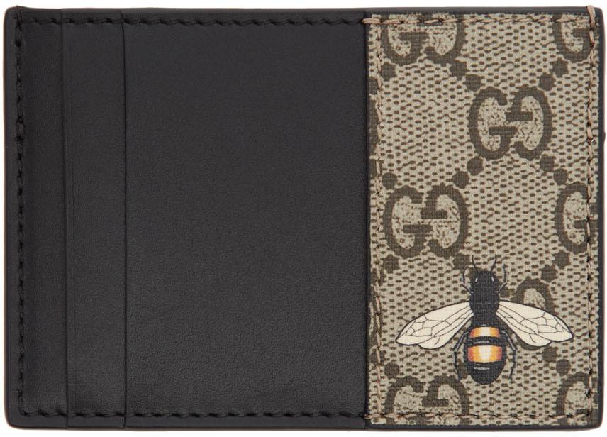 Beige GG Bee Card Holder