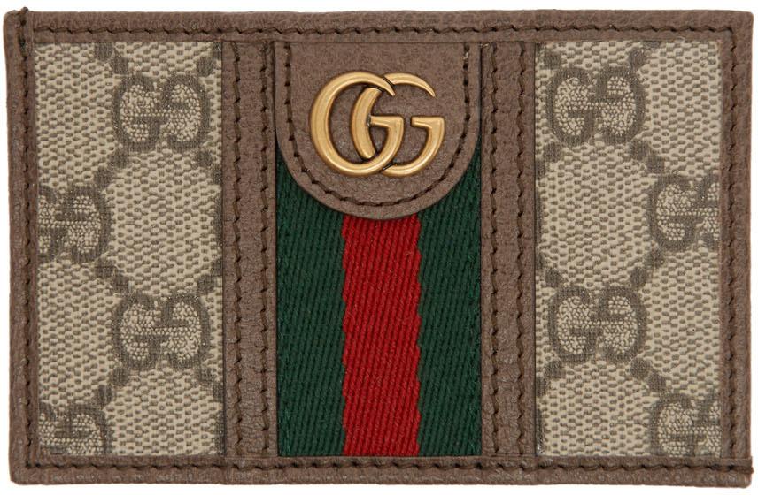 Beige GG Ophidia Card Holder