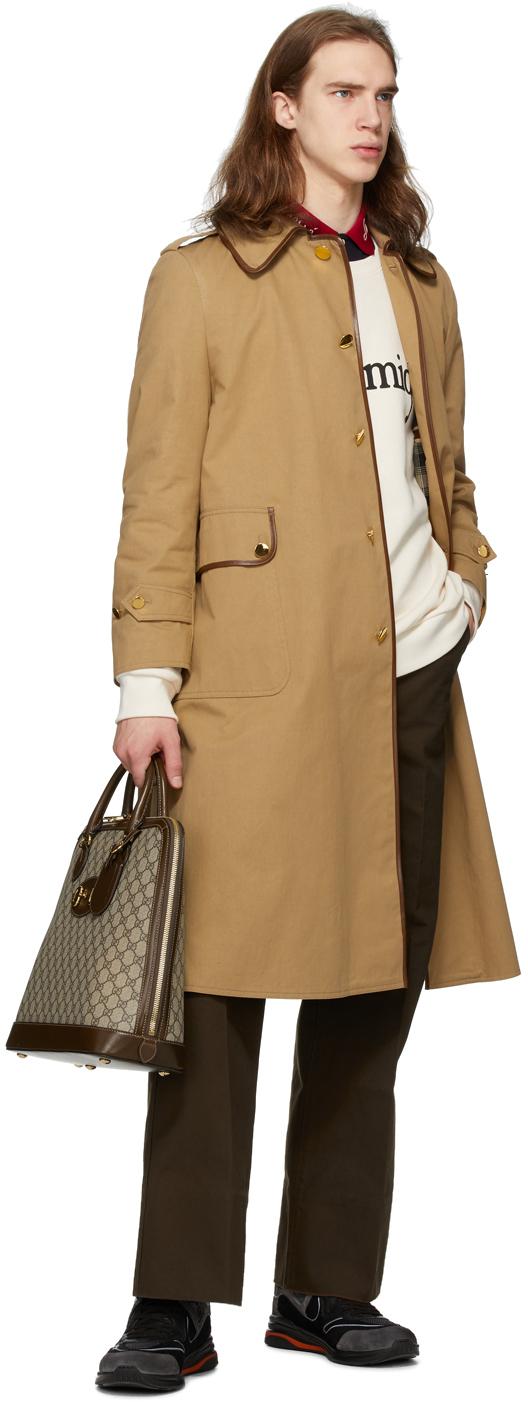Gucci タン コットン ドリル トレンチ コート
