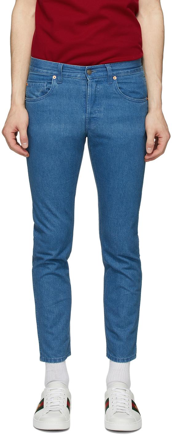 Gucci 蓝色石洗牛仔裤