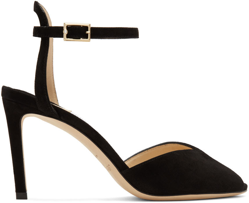 Black Suede Sacora 85 Sandals by Jimmy