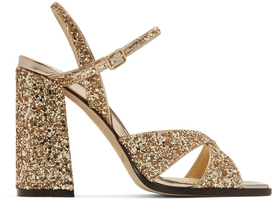 Gold Glitter Joya Heeled Sandals by