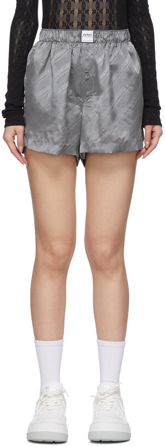 Eytys: Grey Quin Monogram Shorts | SSENSE
