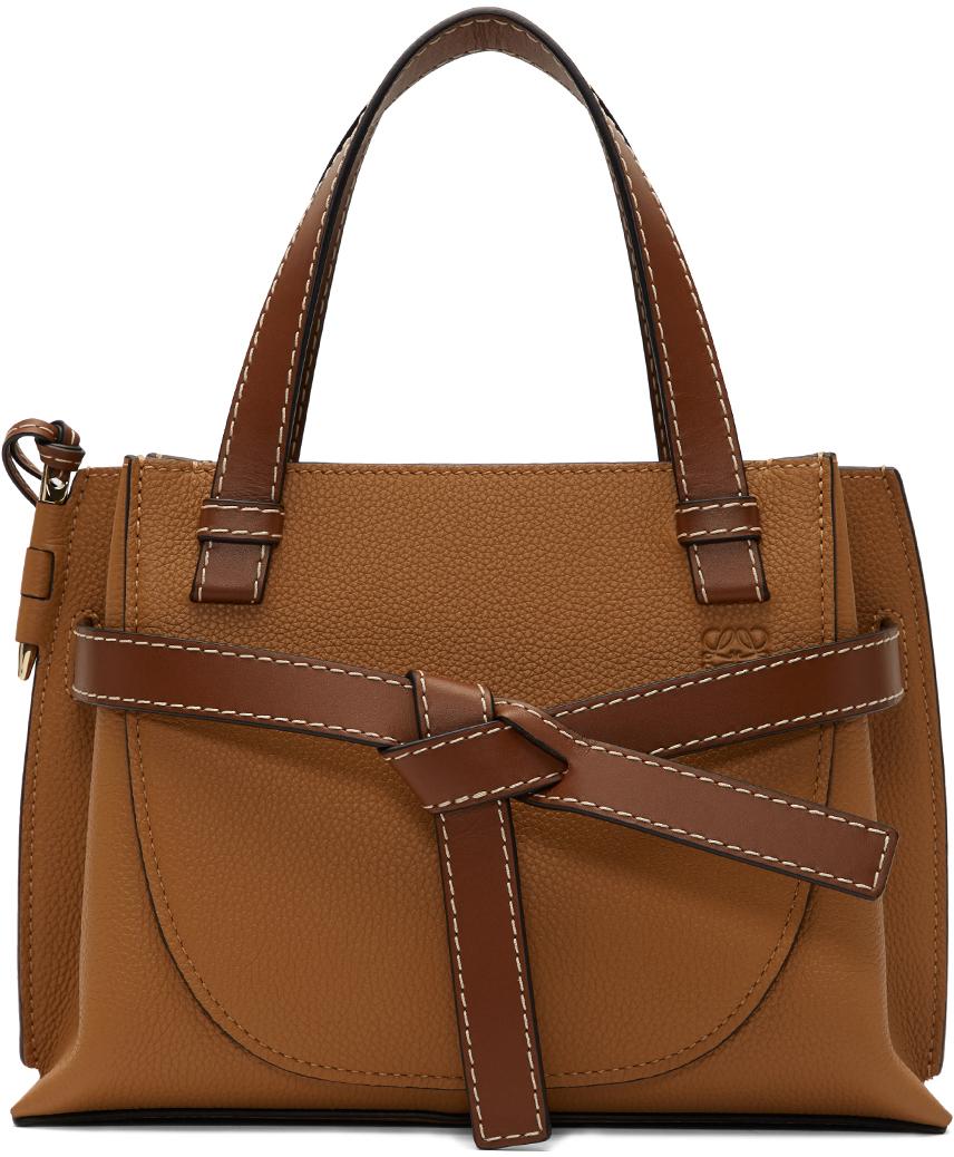 Loewe Brown Mini Gate Top Handle Bag