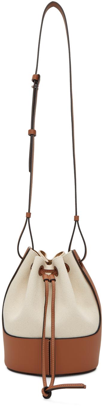 Loewe オフホワイト & タン キャンバス スモール バルーン バッグ