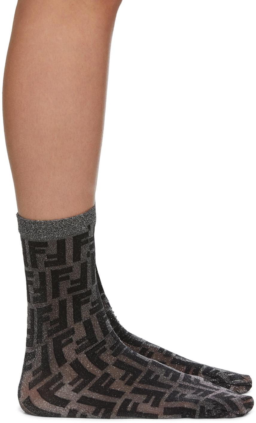 Black Short Lurex Socks