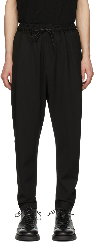 Black Wool Drawstring Trousers