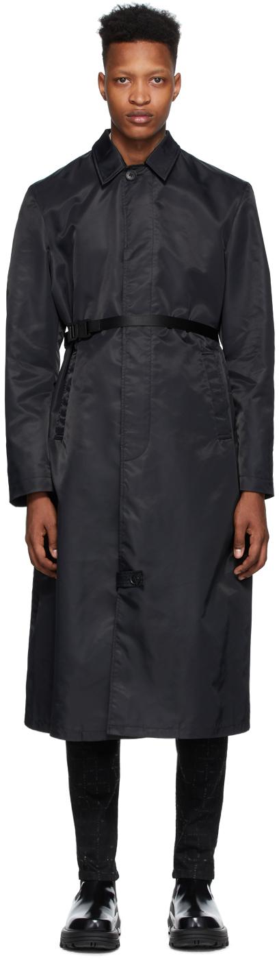1017 ALYX 9SM Black Nylon Trench Coat 201776M184081