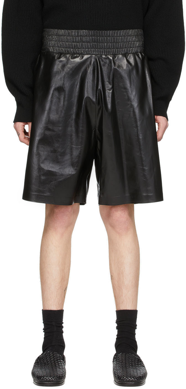 Bottega Veneta 黑色 Shiny 皮革短裤
