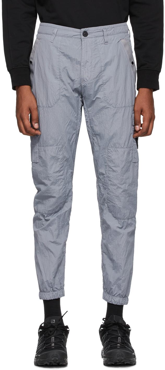Stone Island Grey Seersucker Cargo Pants Ssense