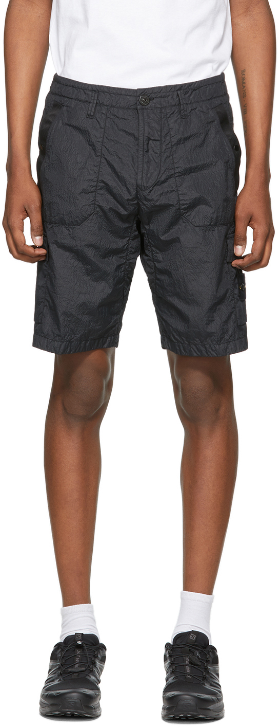 Stone Island Black Nylon Metal Shorts Ssense
