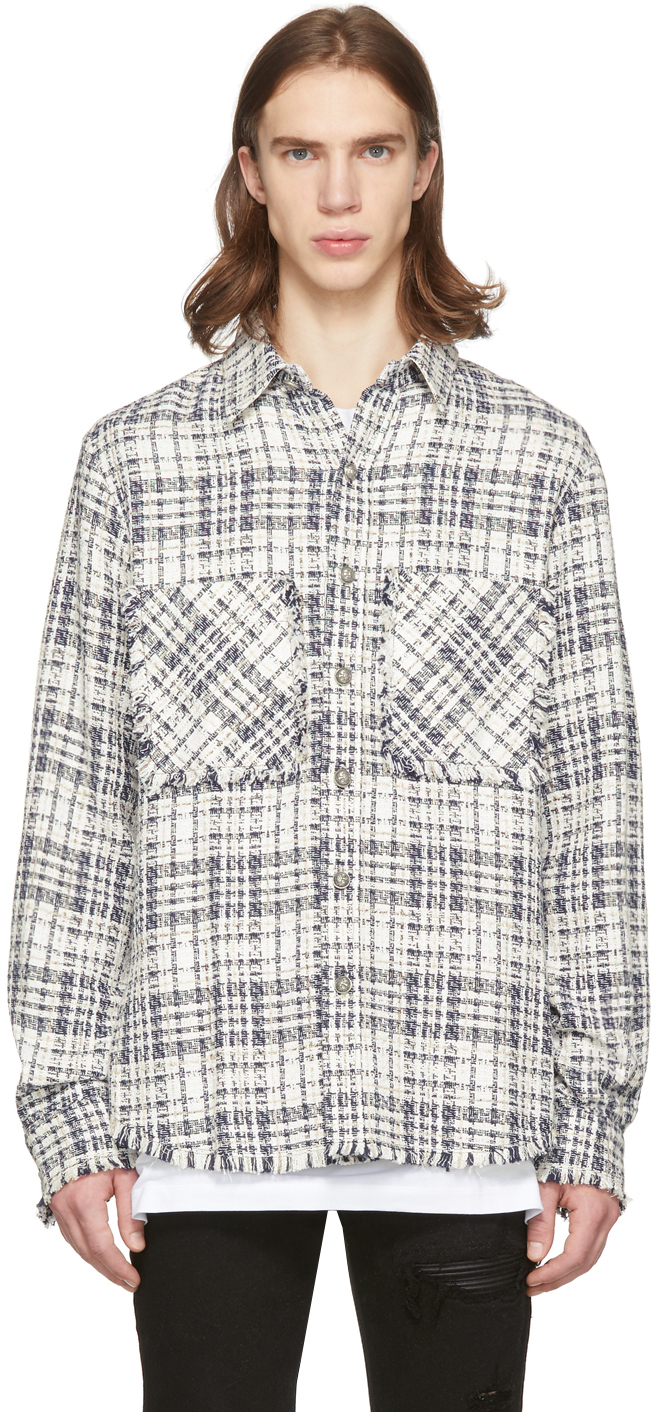 WhiteNavy Off Tweed Fitted Off Shirt Fitted Shirt Tweed WhiteNavy WhiteNavy Off ZPkuwXlOTi