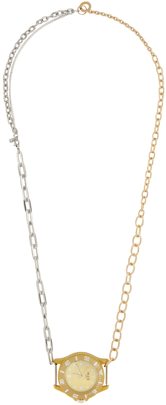 Silver & Gold Fake Watch Material Mix Necklace