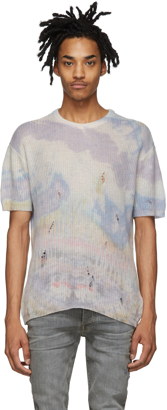 Multicolor Cashmere Tie Dye Short Sleeve Sweater