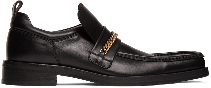 Black Square Toe Boot Loafers