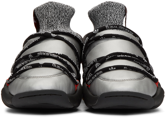 Silver & Black Puff High Top Sneakers