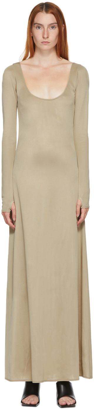 SSENSE Exclusive Taupe Wide Open Neck Dress