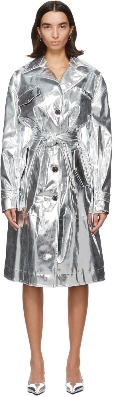 Silver Patent Trench Coat