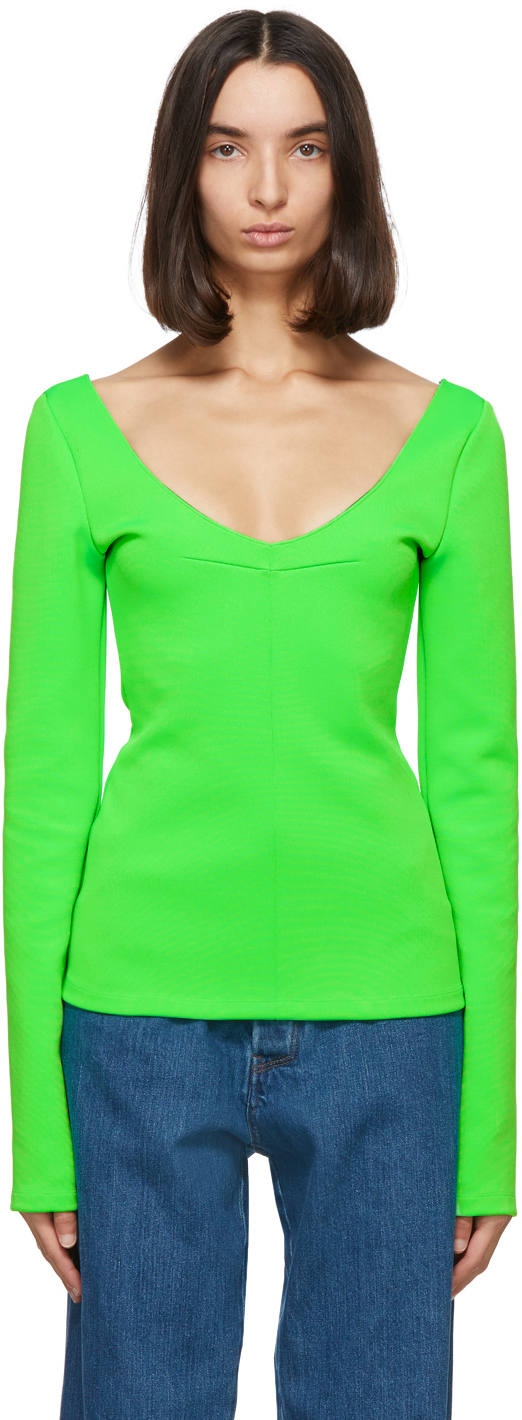 Green Jersey V-Neck Sweater