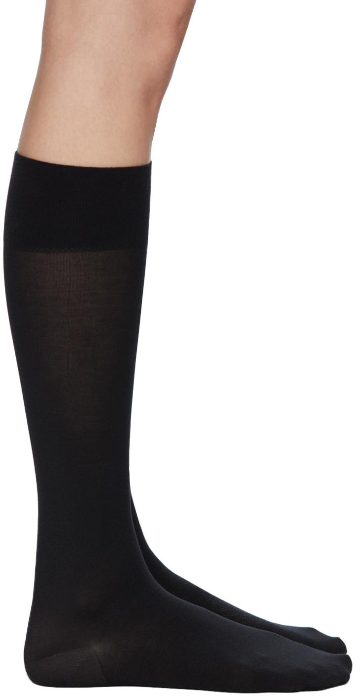 Black Cotton Knee-High Socks