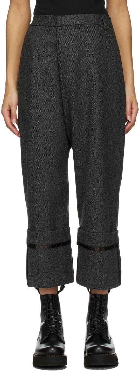 R13 灰色 Cross Over 羊毛精裁长裤